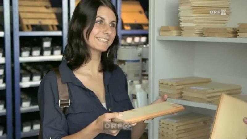 Produktpräsentation von Holz im Wohnraum der Firma Seca